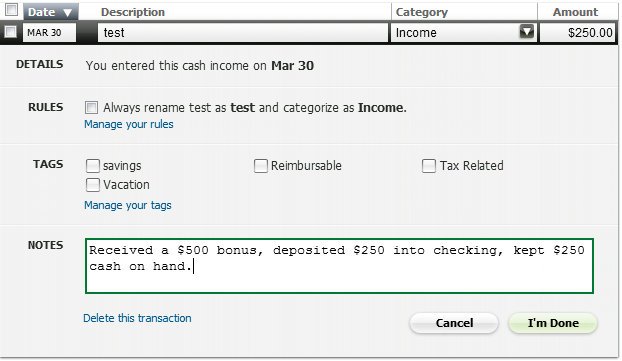 How to Use Mint com Like a Champ: Cash Transactions